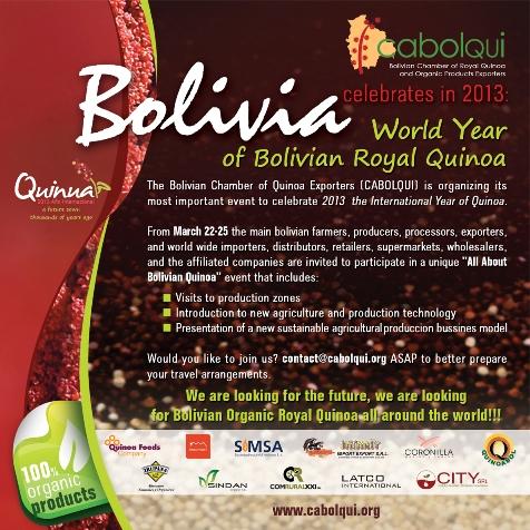 """Invitación al evento """"Todo Acerca de la Quinua"""" de La Cámara de Exportadores de Quinua y Productos Orgánicos (CABOLQUI)"""