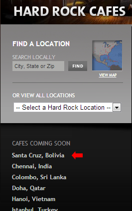 Próximas inaguraciones de hard Rock Café