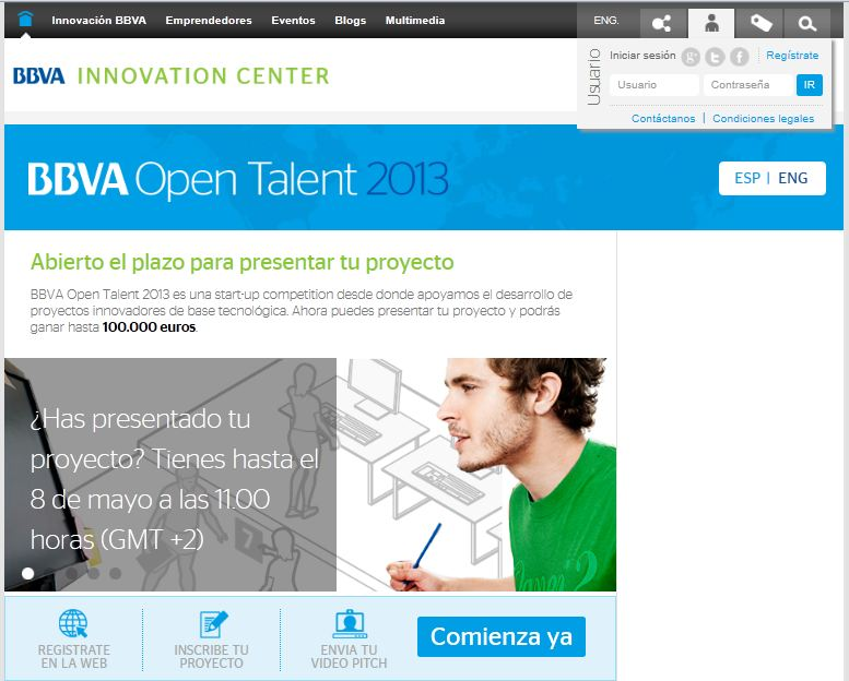 BBVA Open Talent sitio web