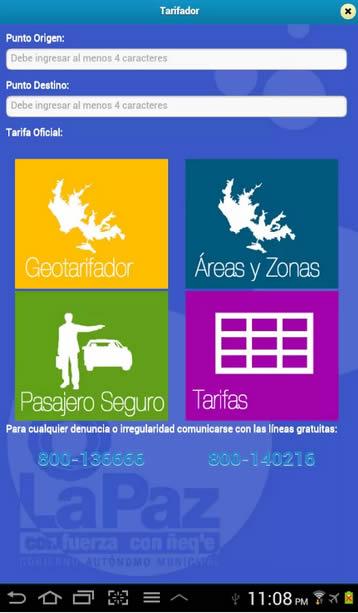 Aplicación de tarifa de radio taxis La Paz