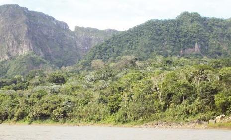 Vista desde el río Beni al cerro cuya leyenda le dio el nombre a San Miguel del Bala, un atractivo del norte de La Paz./Fuente Página Siete.