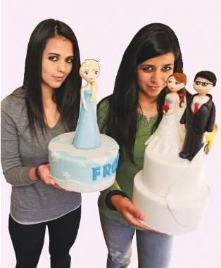 Luciana y Manuela Terrazas muestran algunas de sus creaciones en Sweet Factory./Página Siete