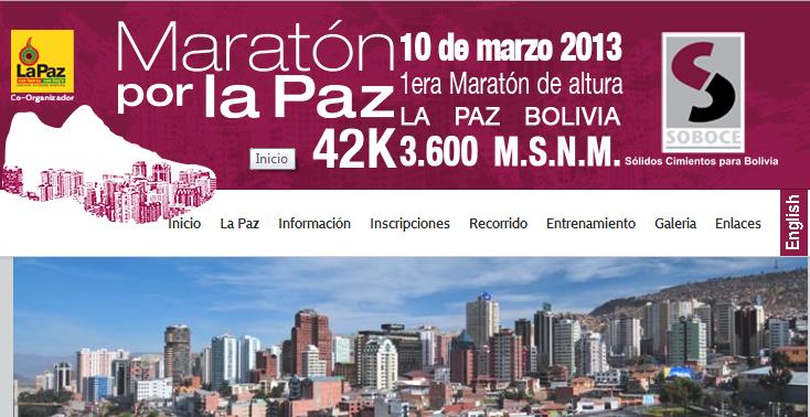 Sitio Web e la Maratón de La paz Fuente: Bolivia Emprende
