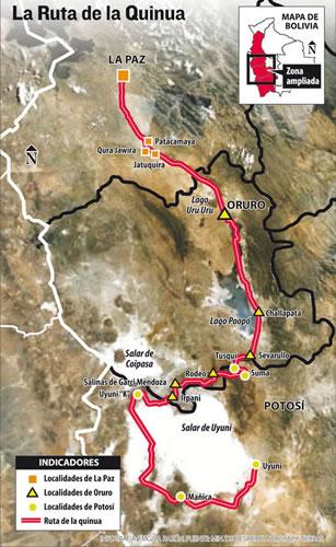 Ruta de la Quinua - Fuente: La Razón