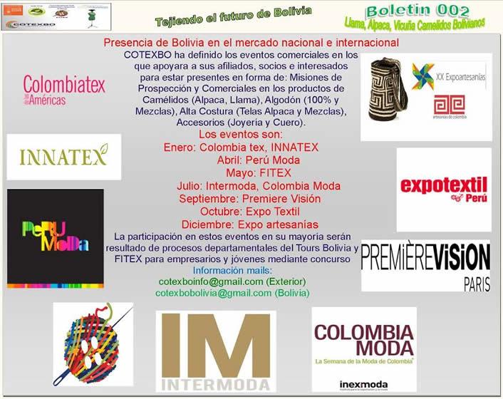 agenda de ferias 2015 cotexbo bolivia