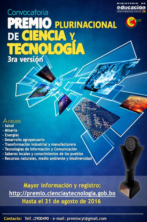 premio ciencia y tecnologia 2016 bolivia
